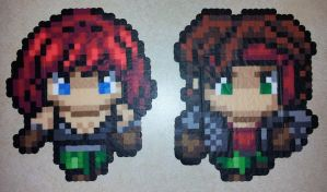 Perler - FF7 Fan characters Kess and Ashe by IAmArkain