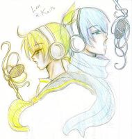Len and Kaito from Vocaloid by Aresky