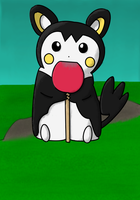 #587 Emolga with Lollipop by SamuelEarl666
