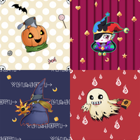 Halloween Digimon Repeating Backgrounds by AliceKaninchenbau