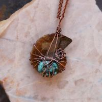 Ammonite Pendant Necklace-Turquoise Ancient Fossil by Shanti-Lewis