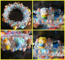 Kawaii Squishy Hello Kitty Striped Cuff by gwennimarie