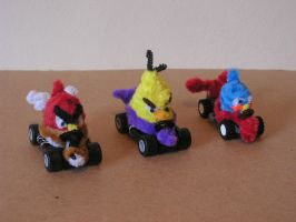 Angry Birds in racing cars by fuzzyfigureguy