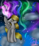 Derpy and something about Aurora  Borealis by Xorathebunny