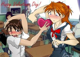 Shinji and Asuka- Valentine by Kirchu