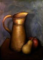 Pitcher, Pear and Apple by DeLumine