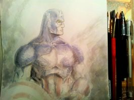Captain America - Speedy Watercolors by dreamflux1
