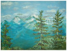 conifers and blue mountains by Swaroop