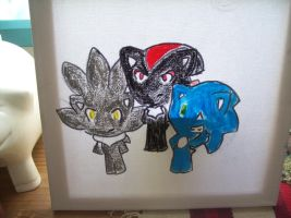 Chibi Shadow,Sonic And Silver Uncompleted by McMuffinNinjaFluffer
