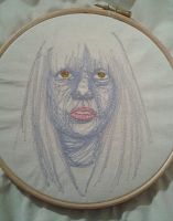 Self portrait a la machine embroidery by t-t-l-sis12