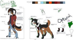 Green refference sheet -Anthro and Feral by Green-Dog-Walker