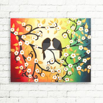 Colorful Wall Art Love Birds Original Painting by hjmart
