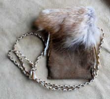 Red Coyote and Leather Pouch by lupagreenwolf
