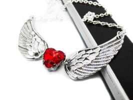 Angel Wing Heart Necklace by pila12903