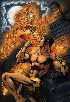 Human Torch and Namor by clondike7
