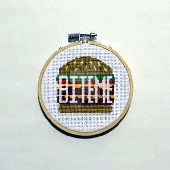 Bite Me Burger Cross Stitch by RedVelvetsCrafts