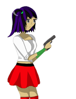 Agana Holding a Gun by Angie-Andrea