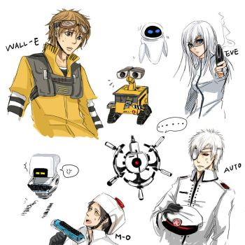 Human WALL-E Characters by SchifferCake