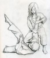 Brazilian Jiu-Jitsu Drawing 1 by sarahbethking