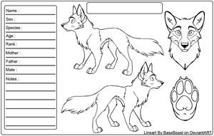 BaseBeast Wolf Reference Sheet Lineart by Wolfinstar