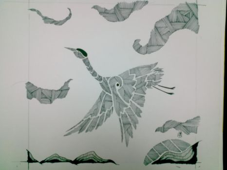 TRADITIONAL : Crane : Line Style by Mgyk