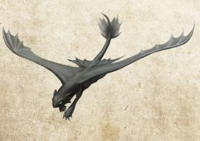 Toothless flying by Tharalin