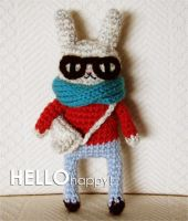Alec the Hipster Bunny - kawaii amigurumi by hellohappycrafts