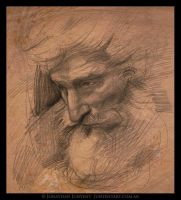 Sketch of an old man by Junyent