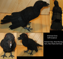 American Crow Soft Sculpture by DancingVulture