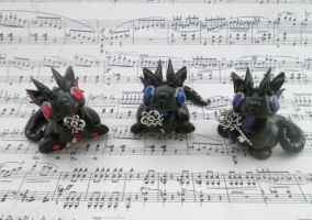 Black and Glittery Key Keeper Dragons by KriannaCrafts