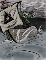 Link sailing through storm by eggoverlord