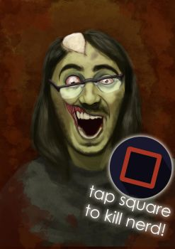 Bespectacled zombie by capoeirabonia