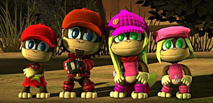 Diddy and Dixie Kong (Young/Old) - LBP3 Costumes by Varia31