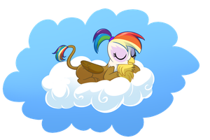 Rainbow Feather in a Cloud by CSIMadmax by Q99