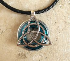 Blue Triquetra Necklace by rowan300