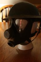 World War: Belgian Soldier's Helmet and Gas Mask by AmaranthBlacktree