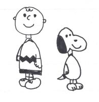 Charlie Brown and Snoopy - drawing class version by dth1971