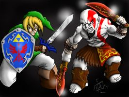 Link vs Kratos by DominicanFlavor