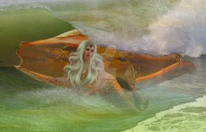 Mermaid and the wave by ladyjudina