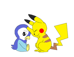 Piplup and Pikachu by Singerwolf