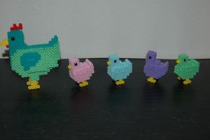 Easter Chicken Perlers by evilpika