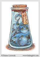 ACEO: Bottled Blue Frogs by emla