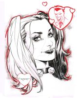 Harley Quinn pre Con doodle - Indiana Comic Con by aethibert