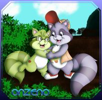 Raccoon siblings by Onzeno