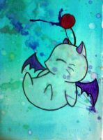Watercolor Moogle by GreenSleazy