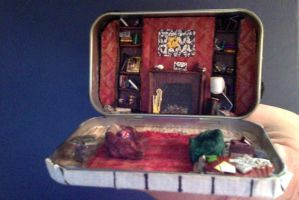 221 B Baker street interior in an altoid tin by Spennisi