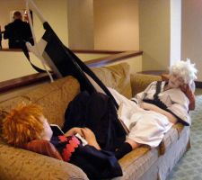 Hichigo and Ichigo lounging by the-blue-skinned-bat