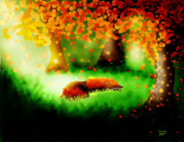 Fox in the forest by crimsonblossom42