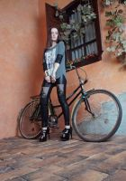 Girl and bicycle by anettfrozen