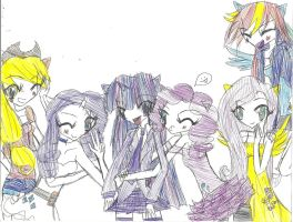 MLP: FIM Anime Pen sketch! by PinkamenaRocksCute13